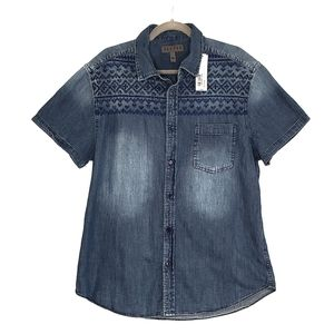 Decree Indigo Embroidery Button Down Shirt